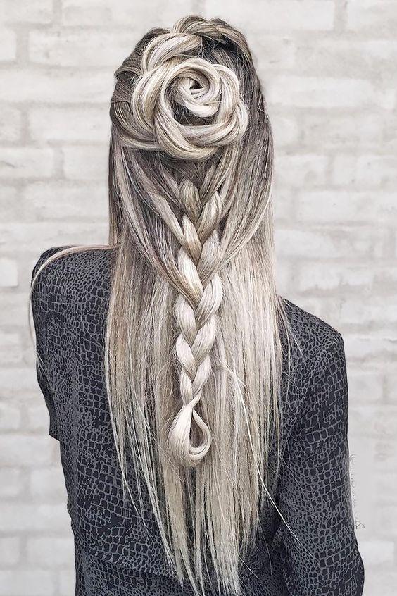 Lang haar met rechte vlecht