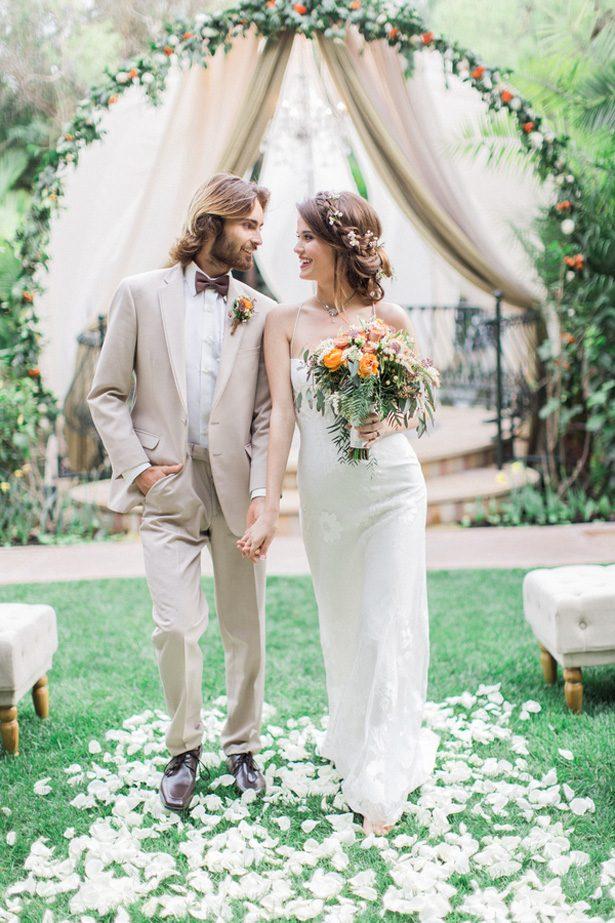 Bohemian bruiloft echtpaar