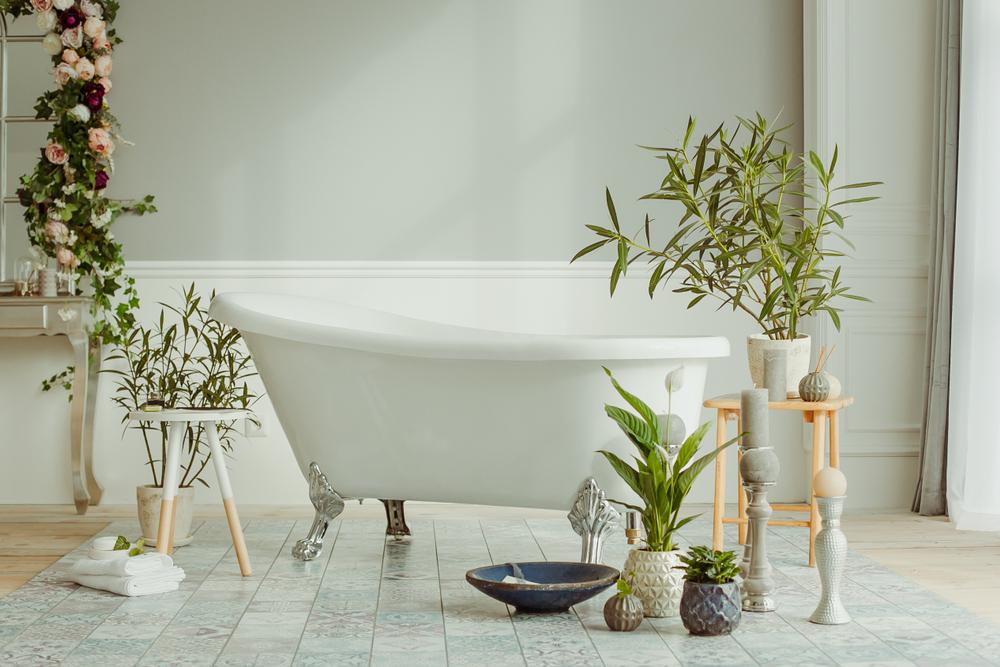 Groene badkamer met planten
